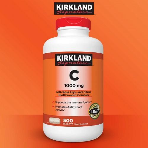 Kirkland Vitamina C con Complejo de Bioflavonoides de Rosa Mosqueta y Citricos 1000 mg 500 Tabletas V3080 Kirkland Signature