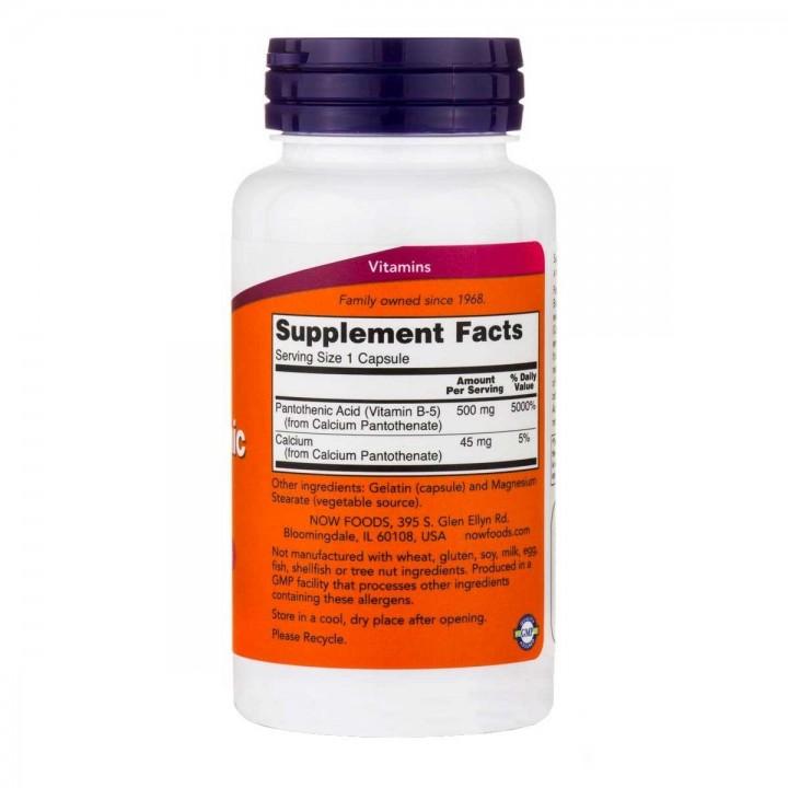 Acido Pantotenico / Pantothenic Acid Vitamina B-5 Now Foods 500 mg 100 Capsulas V3235 Now Nutrition for Optimal Wellness