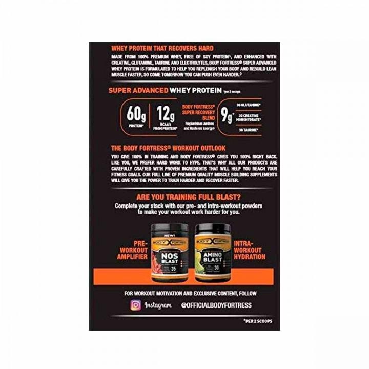 Body Fortress Whey Protein Proteina de Suero en Polvo sabor a Fresa 2 Libras (907 g) V3236 Body Fortress