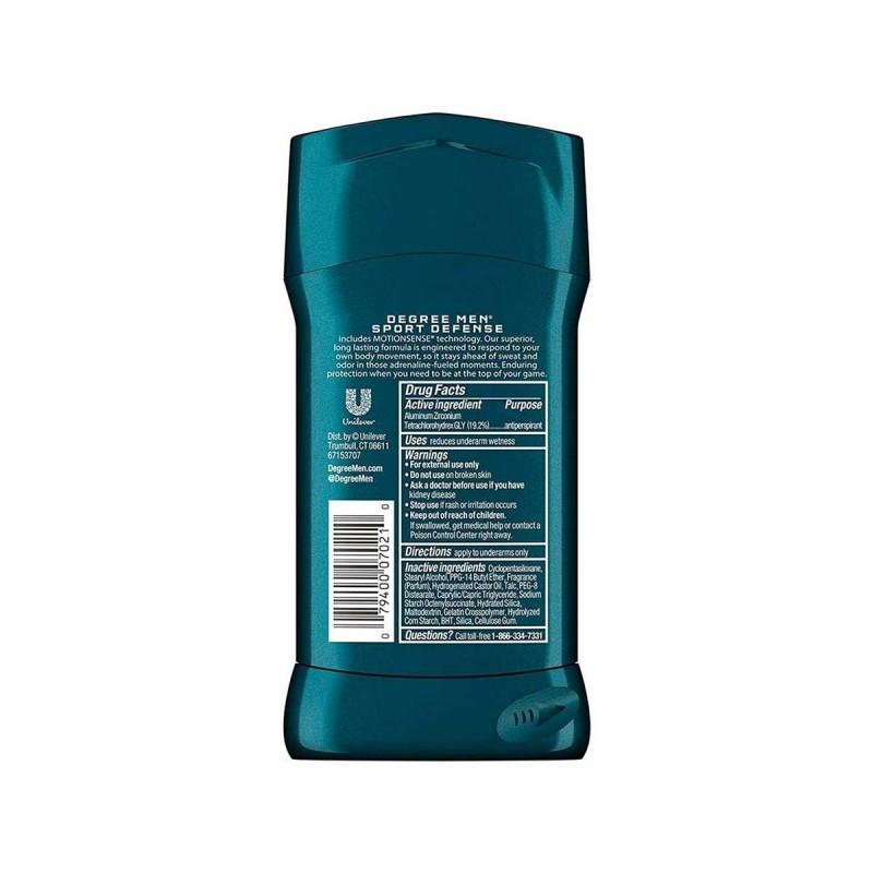 Desodorante Antitranspirante en Barra Men Degree SPORT DEFENSE Protección 48H 2.7 Onzas (76g) C1093 Degree
