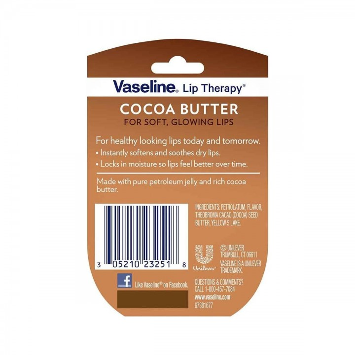 Vaselina para Labios Lip Therapy de Vaseline Cocoa Butter Made in the USA 0,25 oz (7g) C1098 Vaseline