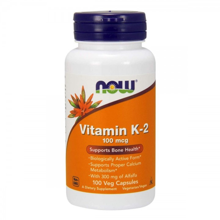 Vitamina K-2 Now Foods Salud Vascular y Osea 100 mcg 100 Capsulas Veganas V3243 Now Nutrition for Optimal Wellness