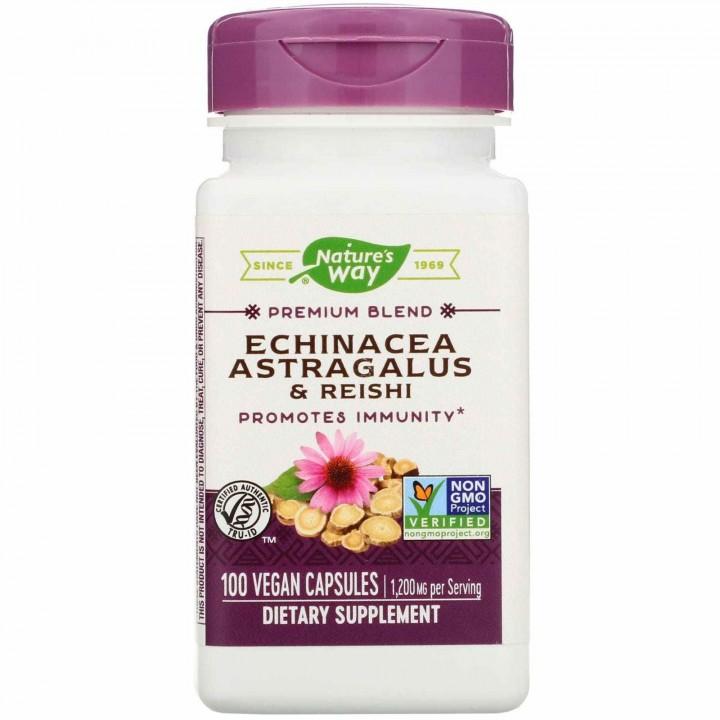 Natures Way Echinacea Astragalus y Reishi 1200 MG 100 Capsulas Veganas V3244