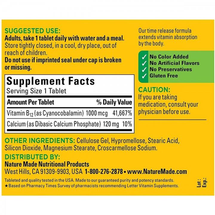 Nature Made B12 Apoyo Sistema Nervioso 1000 mg 160 Tabletas V3272 Nature Made