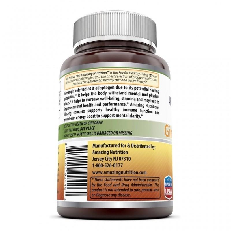 AMAZING FORMULAS Ginseng Complex Soporte Sistema Inmune 1000 MG 120 Capsulas V3282 Amazing Nutrition