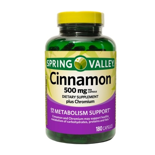 SPRING VALLEY Cinnamon (Canela) Apoyo Metabolismo 500 mg 180 Capsulas V3285 SPRING VALLEY
