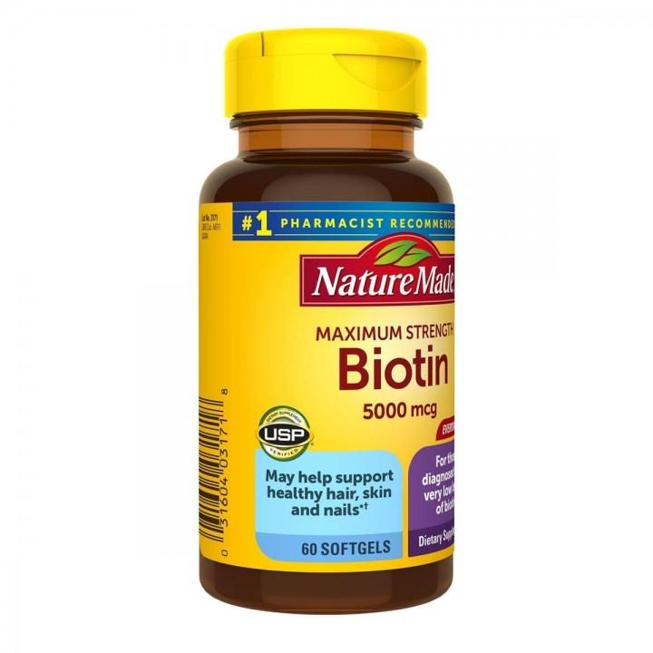 Nature Made Biotin – Biotina (Vitamina B7) 5000 mcg 60 Cápsulas V3287 Nature Made