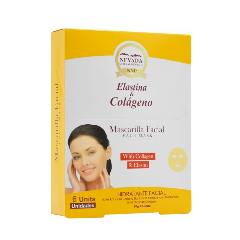 NEVADA NATURAL PRODUCTS Mascarilla Facial Elastina y Colageno Hidratante Facial 6 Uds C1109 Nevada Natural Products