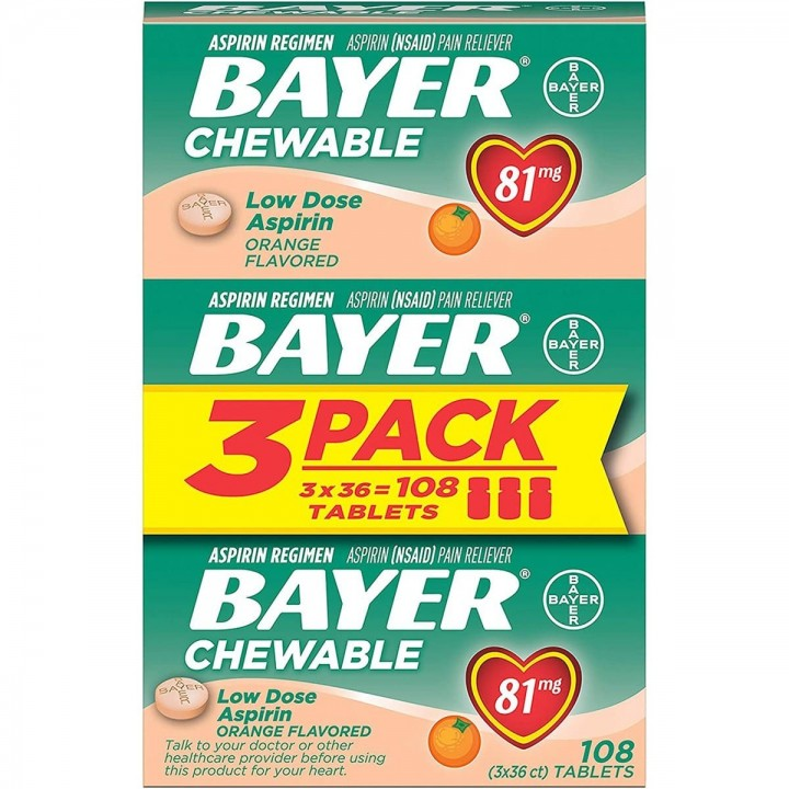 ASPIRINA MASTICABLE BAYER Dosis Baja Sabor Naranja 81 mg 108 Tabletas PACK X3 V3290 Bayer