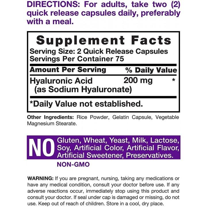 Horbaach Acido Hialuronico Soporte Salud de la Piel 200 MG 150 Capsulas V3295 Horbaach