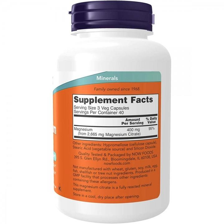 Now Foods Citrato de Magnesio 400 mg 120 Capsulas V3301 Now Nutrition for Optimal Wellness