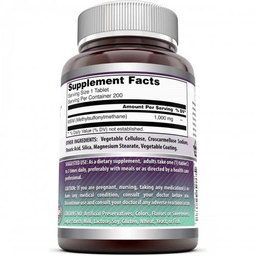AMAZING FORMULAS MSM Soporte Salud de las Articulaciones y Huesos 1000 MG 200 Tabletas V3318 Amazing Nutrition