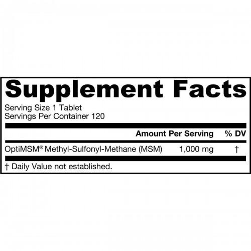 Jarrow FORMULAS MSM Soporte Salud de las Articulaciones 1000 MG 120 Tabletas V3320 Jarrow Formulas