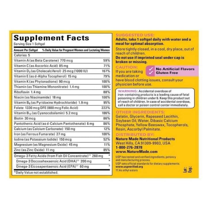 Nature Made Prenatal Multivitaminico + DHA 200 mg 150 Softgels V3327 Nature Made