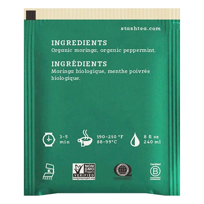 Organic Herbal Tea Caffeine Free Moringa Mint  STASH