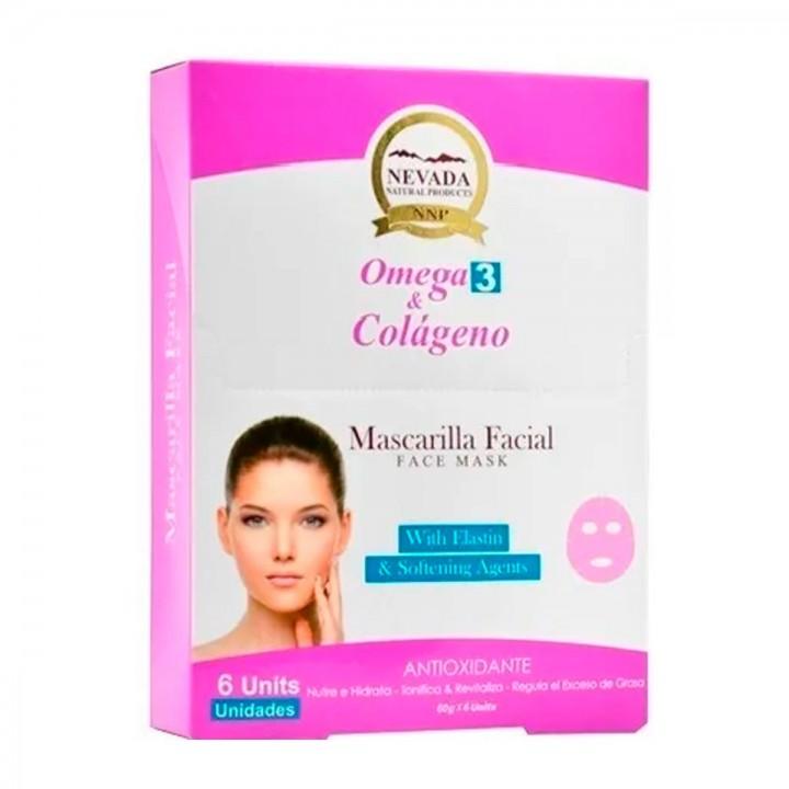 Nevada Mascarilla Facial Omega 3 y Colageno Antioxidante 6 Unidades C1064 Nevada Natural Products