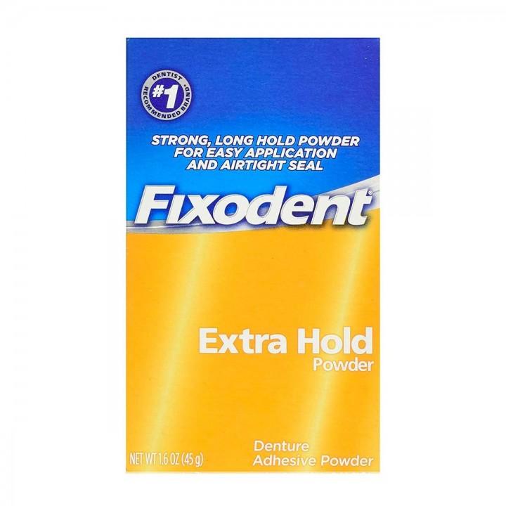Polvo Adhesivo Para Dentaduras Postizas Fixodent Extra Hold Powder 1.6 oz (45g) C1149 FIXODENT