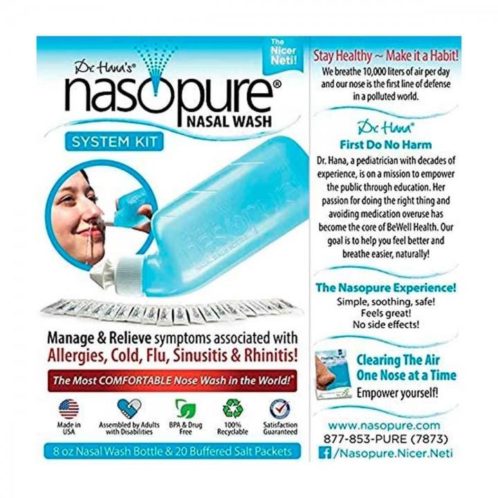 Nasopure Lavado Nasal Botella 8 Oz 20 sobres de Solución Salina C1157 Nasopure