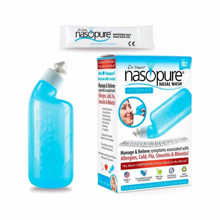 Nasopure Lavado Nasal Botella 8 Oz 20 sobres de Solución Salina