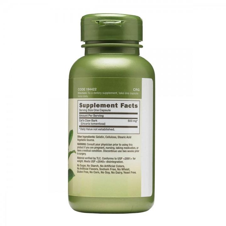 GNC Herbal Plus® Uña de Gato / Cat's Claw Bark 500 mg 100 Capsulas V3150 GNC