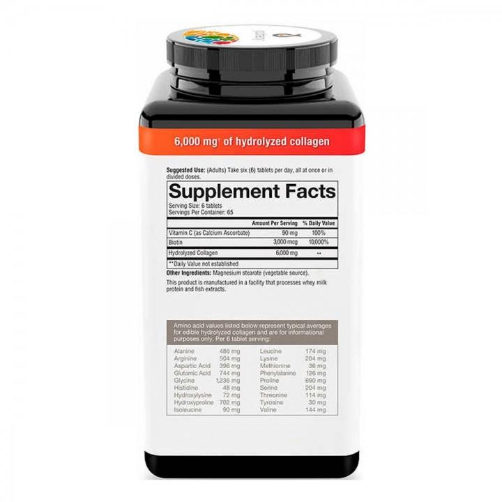 Youtheory Colageno + Biotina 6000 mg 390 Tabletas V3124 Youtheory