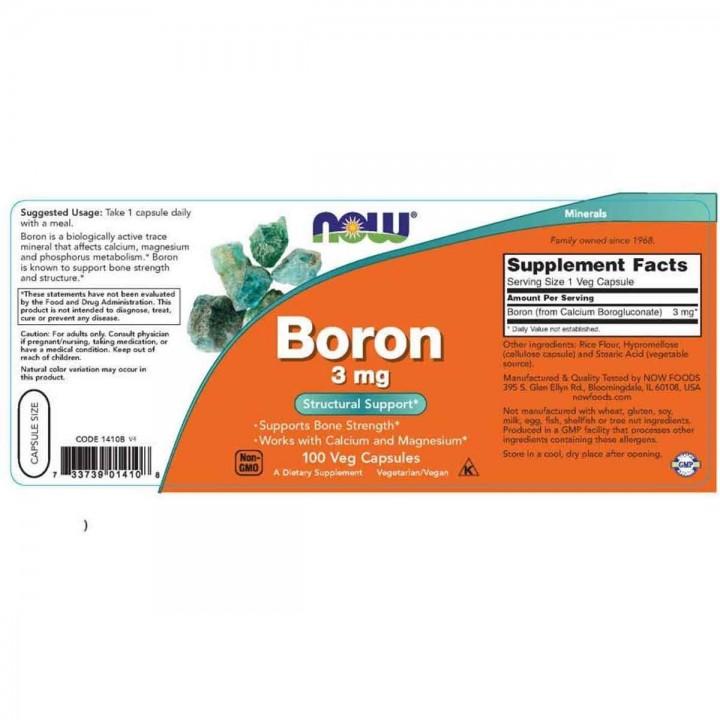 Boron Now Foods 3 mg Soporte Huesos 100 Capsulas Vegetales V3209 Now Nutrition for Optimal Wellness