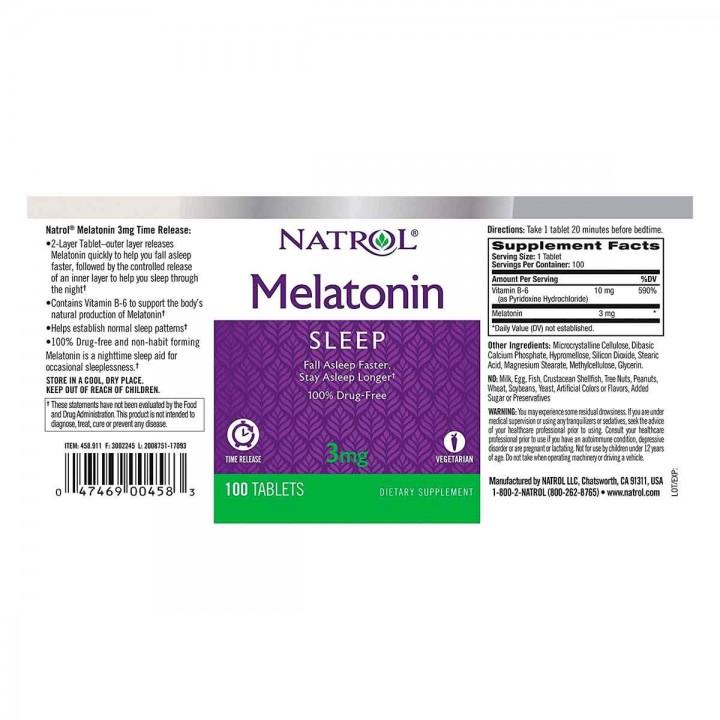 Natrol Melatonina 3 mg 100 tabletas V3120 Natrol
