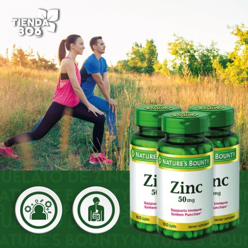 Quelato de Zinc Nature's Bounty 50 mg 100 Pastillas V3027 NATURE'S BOUNTY