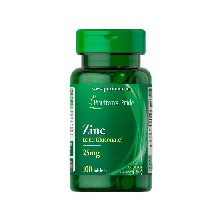 Puritan's Pride Gluconato de Zinc 25 mg 100 Tabletas V3146 Puritan's Pride