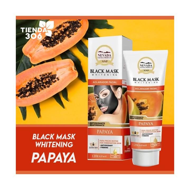 Nevada Mascarilla Black Mask de Papaya Aclarador Facial Exfoliante Energizante 120 g C1026 Nevada Natural Products