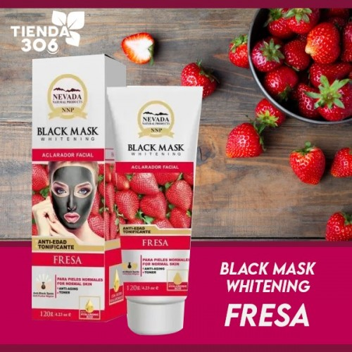 Nevada Mascarilla Black Mask de Fresa Aclarador Facial Anti-edad Tonificante 120g C1027 Nevada Natural Products