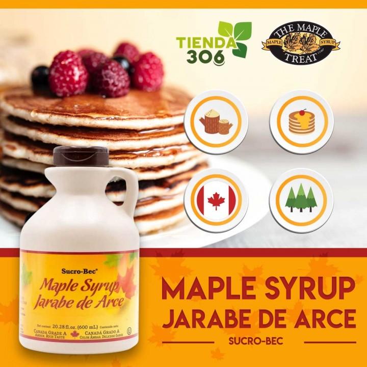 Maple Syrup Jarabe de Arce Sucro-Bec 600 ml (20.28 fl oz) D1132 THE MAPLE TREAT