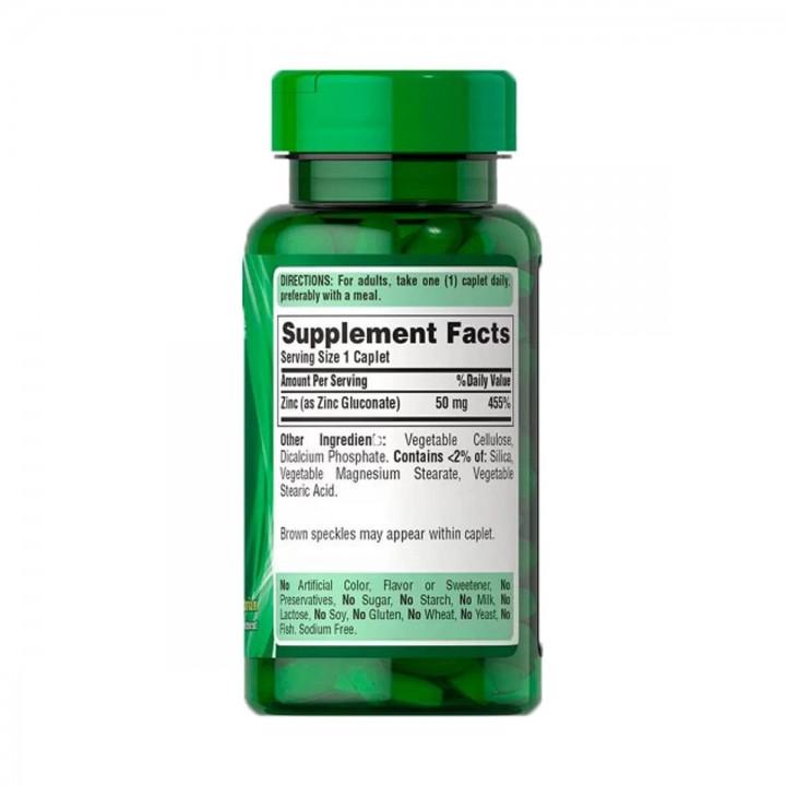 Puritan's Pride Gluconato de Zinc 50 mg 250 Tabletas V3332 Puritan's Pride