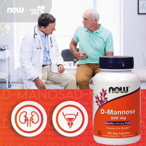 D-Manosa Now Foods D-Mannose Tracto Urinario Saludable 500 mg 120 Cápsulas V3189 Now Nutrition for Optimal Wellness