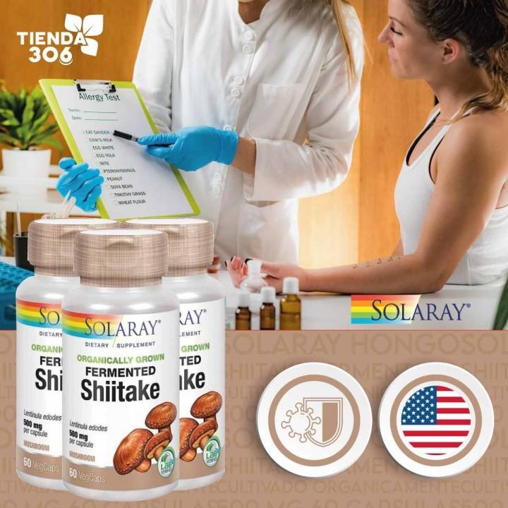 SOLARAY Hongo Shiitake Fermentado Cultivado Organicamente 500 mg 60 Capsulas V3308 Solaray