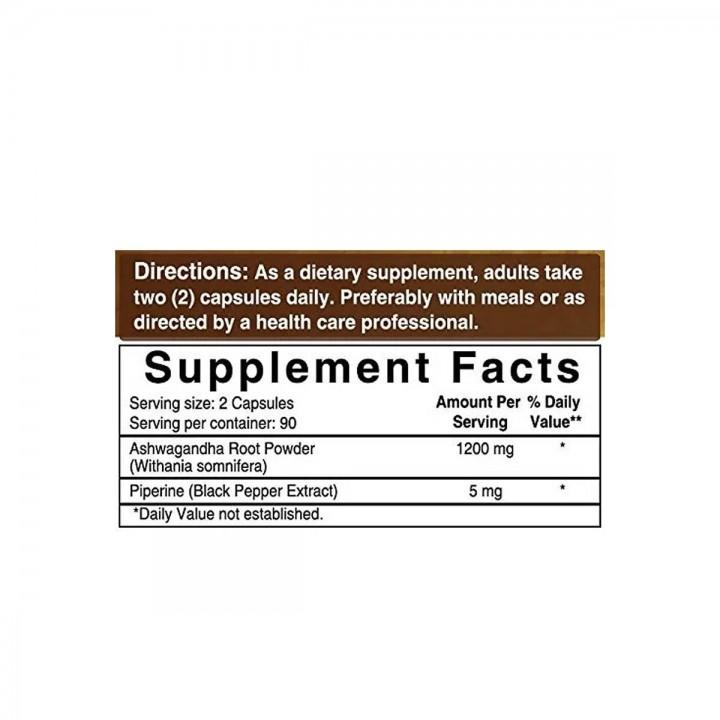 Naturebell Ashwagandha Organica con Pimienta Soporte Sistema Nervioso 1200 mg 180 Capsulas V3316 Naturebell