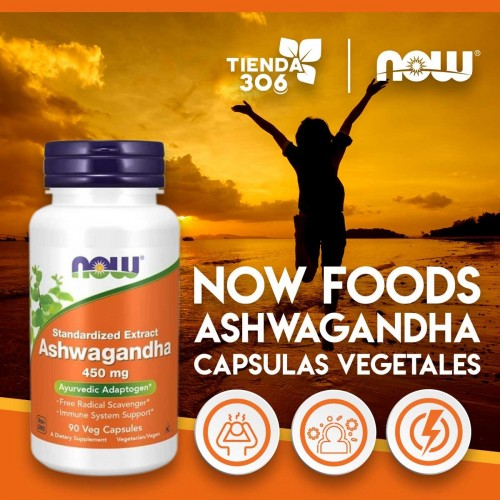 Now Foods Ashwagandha Extracto Estandarizado 450 MG 90 Capsulas Vegetales V3252 Now Nutrition for Optimal Wellness