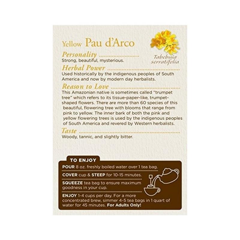 Te Palo de Arco (Pau D'Arco) Traditional Medicinals Herbal Teas 16 Bolsitas 85 oz. (24g) T2056 Traditional Medicinals