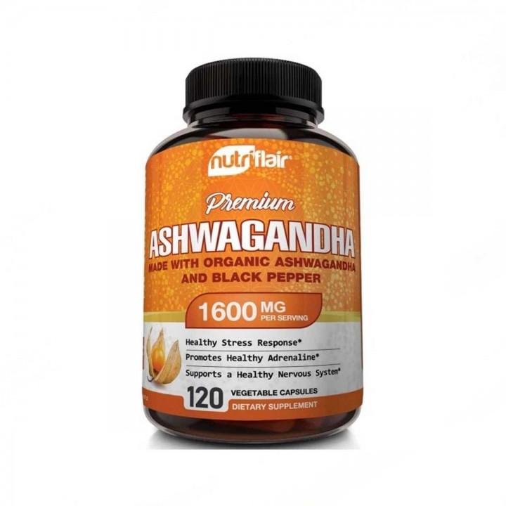 nutriflair ASHWAGANDHA Organica con Pimienta Soporte Sistema Nervioso 1600 MG 120 Capsulas Vegetales V3317 Nutriflair