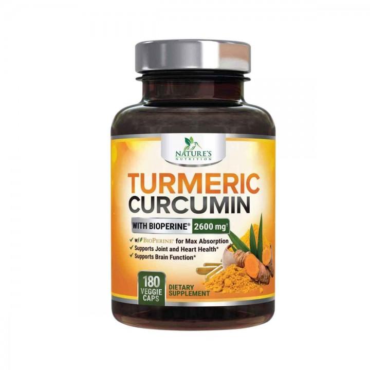 Natures Nutrition Turmeric Curcumina Con Bioperina 2600 Mg 180 Capsulas V3112 Natures Nutrition