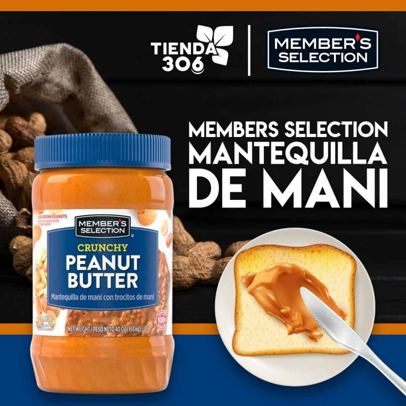 MEMBER'S SELECTION Mantequilla de Mani con Trocitos de Mani 1.13 kg D1155 Members Selection