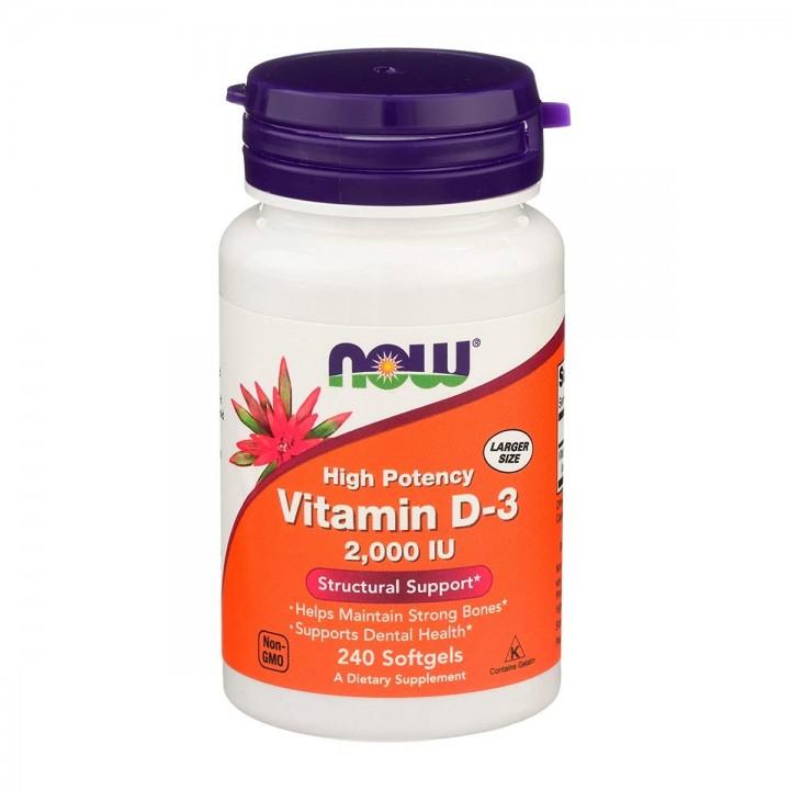 Now Vitamina D3 Alta Potencia 2,000 IU 240 Softgels V3256 Now Nutrition for Optimal Wellness