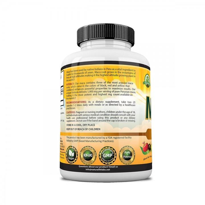 Maca Organica Naturalife Labs Root Negro Rojo Amarillo 1900 Mg por Cápsula, 150 Cápsulas Suplemento Vegano V3010 Natural Life...