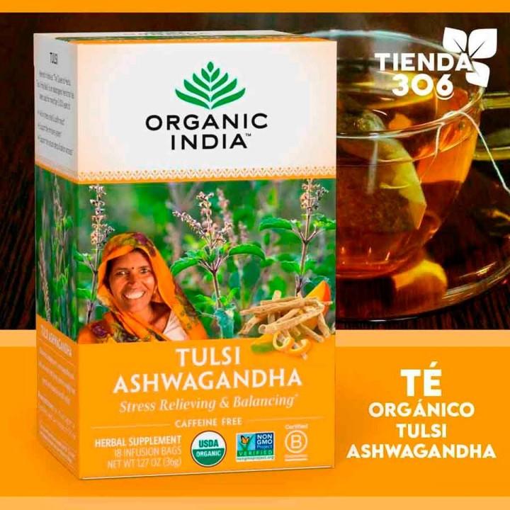 Te ORGANIC INDIA Tulsi Ashwagandha Caffeine Free 18 Bolsitas 36g T2069 Organic India