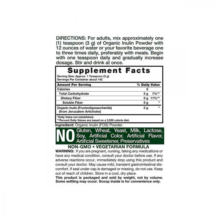 Carlyle Inulina Organica 100% pura 425gr (15 oz) V3214 CARLYLE