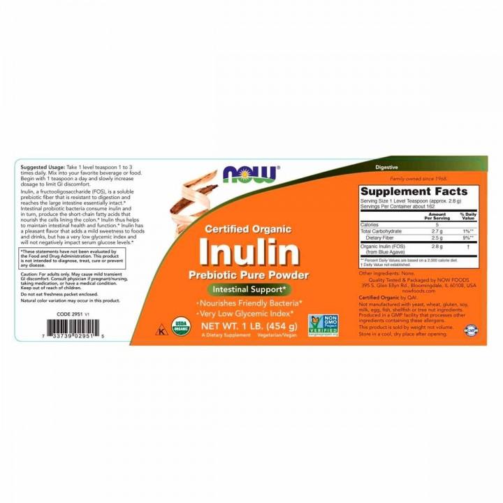 Now Prebiotico Inulina Organica Vegetariana (454 gr) V3218 Now Nutrition for Optimal Wellness