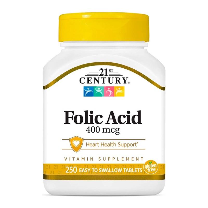 21 St Century Acido Folico 400 mcg 250 Tabletas V3164