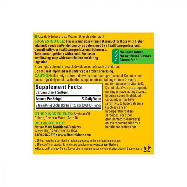 Nature Made Vitamina D3 5000 IU (125 mcg) Extra fuerte 100 Capsulas V3074 Nature Made