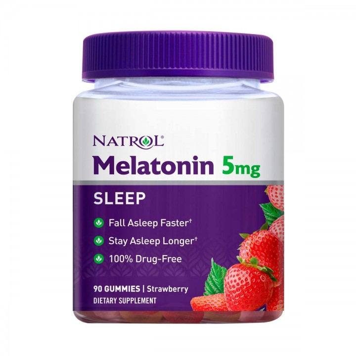 Natrol Melatonin en Gomas Sueño Prolongado Sabor a Fresa 5 mg 90 unidades V3199 Natrol