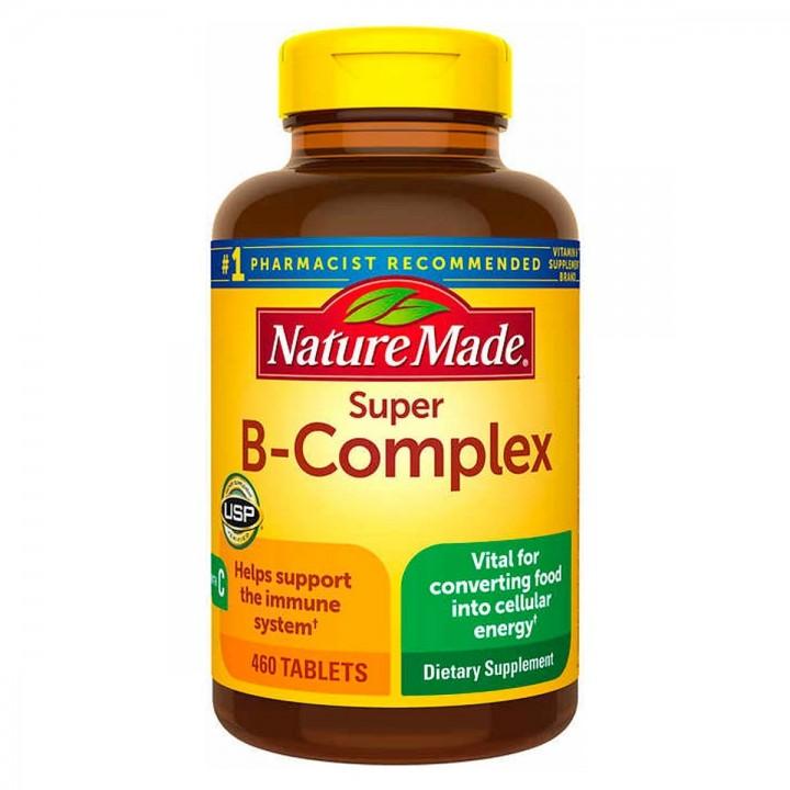 Nature Made Complejo B Super B Complex con Acido Fólico + Vitamina C 460 Tabletas V3032 Nature Made